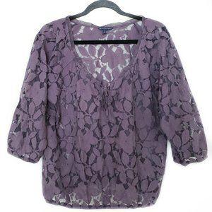American Eagle lace boho sheer blouse purple large